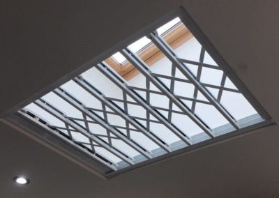 White skylight lattice gate.