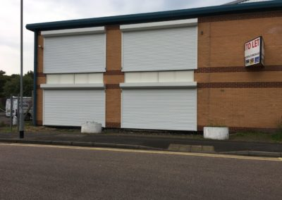 77mm White Security Shutters On Offices In Kent