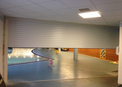 Insulated swimming pool roller shutter fitted at a Leisure Centre in London